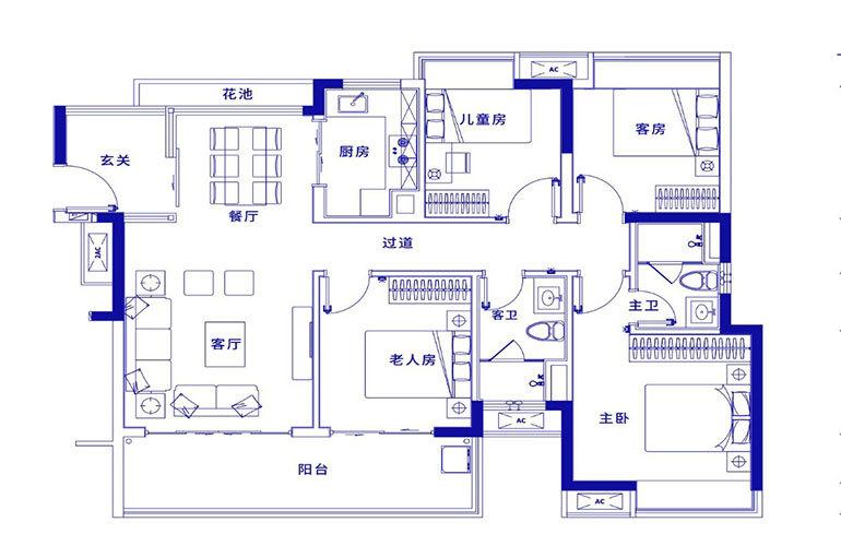 保利浅海 D1-4室2厅2卫 建面121㎡