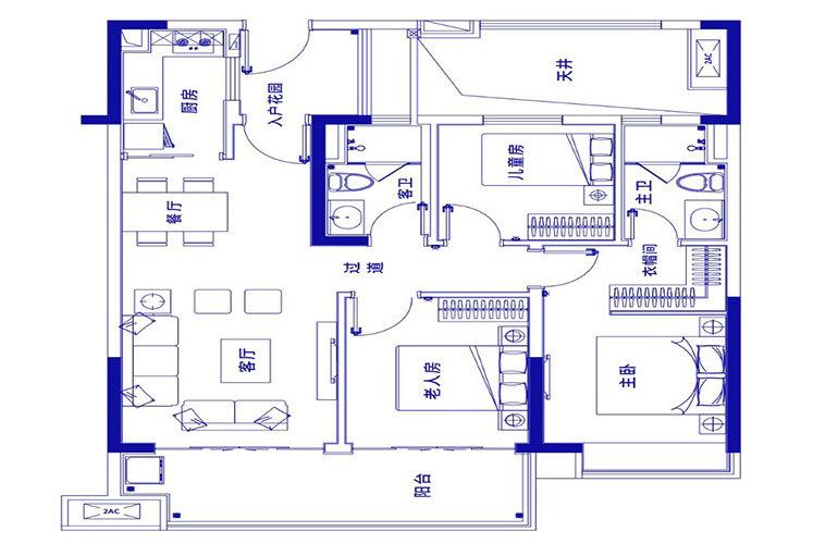 保利浅海 E1户型-3室2厅2卫 建面103㎡