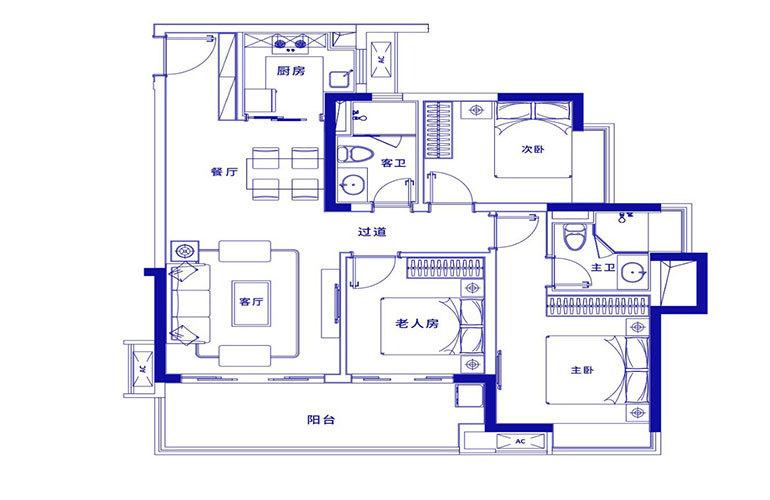 保利浅海 B1户型-3室2厅2卫建面105㎡