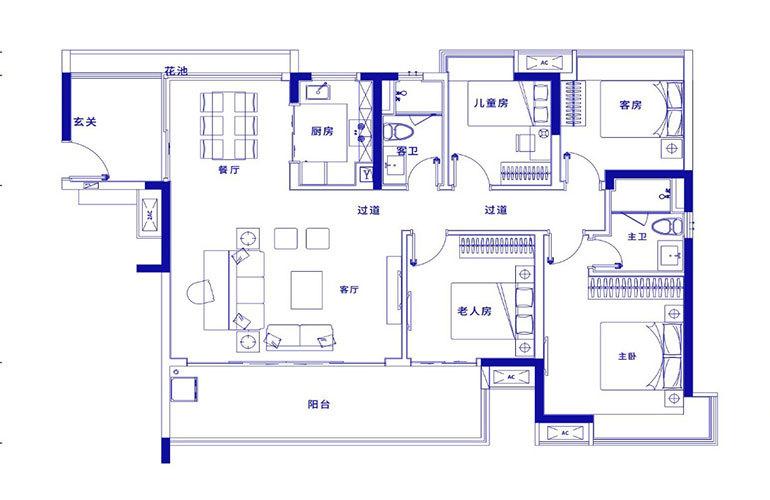 保利浅海 H1户型-4室2厅2卫 建面138㎡