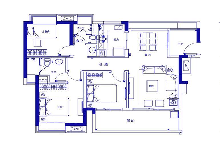 保利浅海 F1户型-3室2厅2厅 建面106㎡