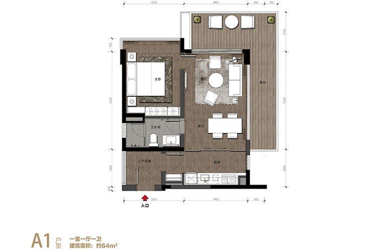 华润石梅湾九里 A1户型 1室1厅1卫 建面64㎡