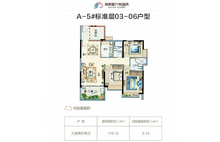 富力悦海湾 A5 03-06户型 3室2厅2卫 建面110㎡