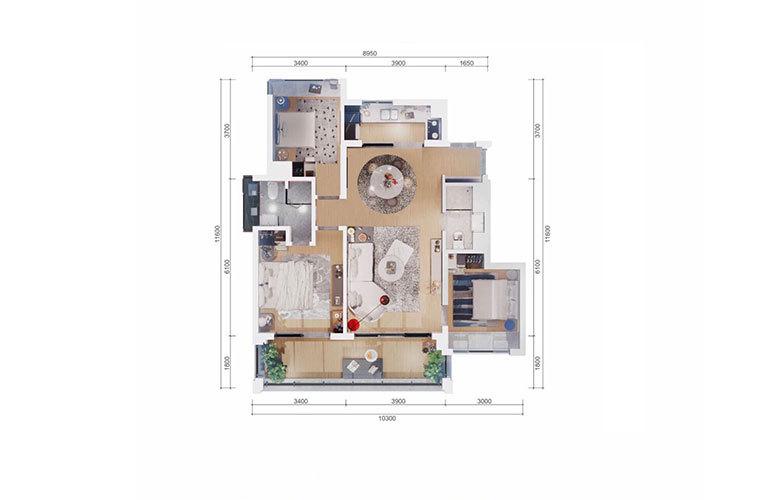 融创海南臻园 花园洋房户型 3室2厅2卫1厨 建面103㎡