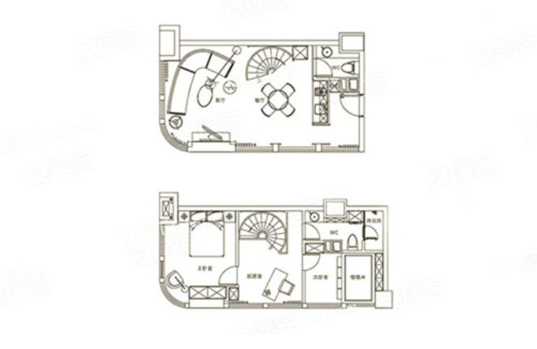 华亚欢乐城 A户型 2室3厅2卫 建面48㎡