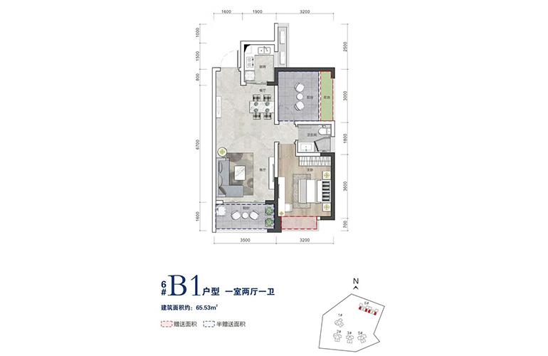 毗海澜湾 B1户型 1室2厅1卫 建面65㎡