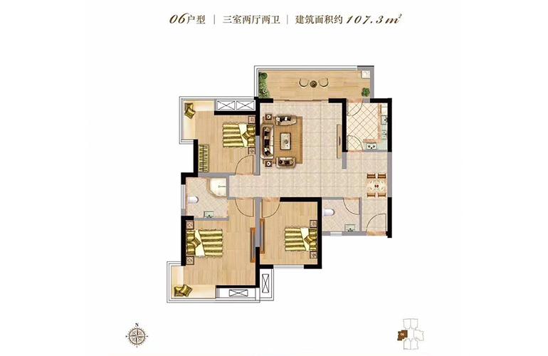 双杰蓝海国际 06户型 3室2厅2卫 建面107㎡