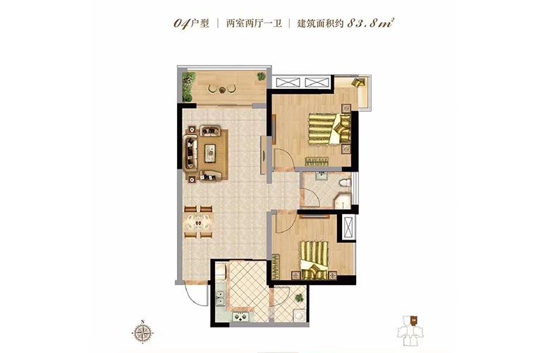 双杰蓝海国际 04户型 2室2厅1卫 建面83㎡