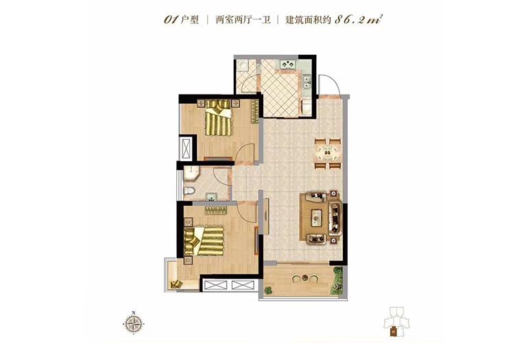 双杰蓝海国际 01户型 2室2厅1卫 建面86㎡