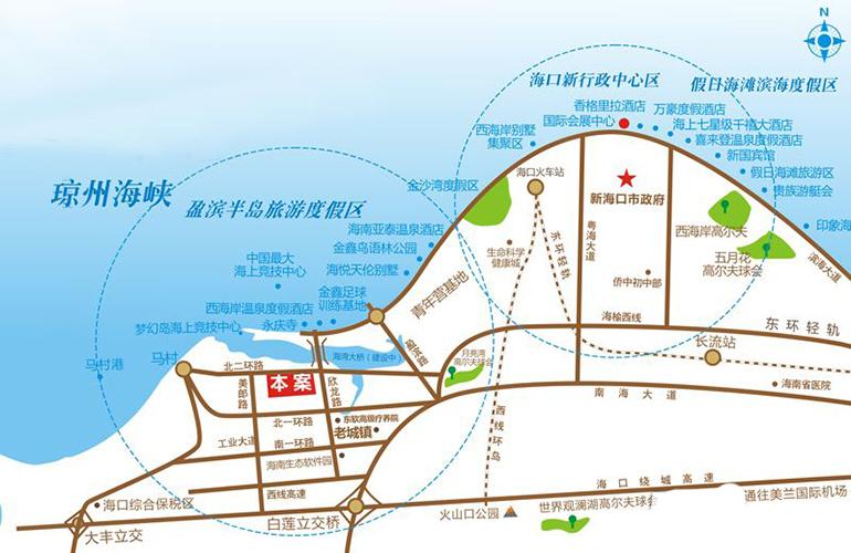 椰海温泉嘉苑区位图