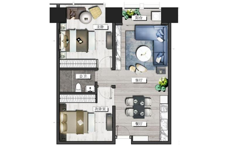 置地东方广场 B户型 2室2厅1卫 建面123㎡