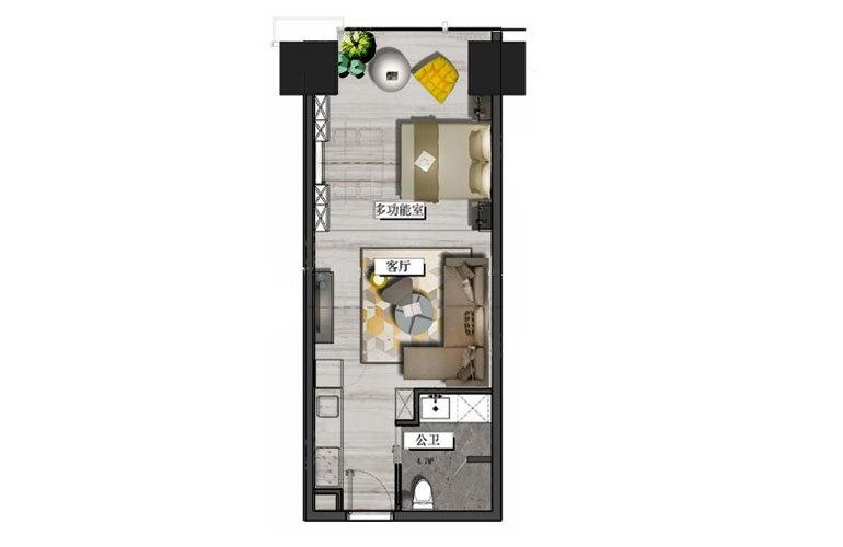 置地东方广场 C户型 1室1厅1卫 建面61㎡