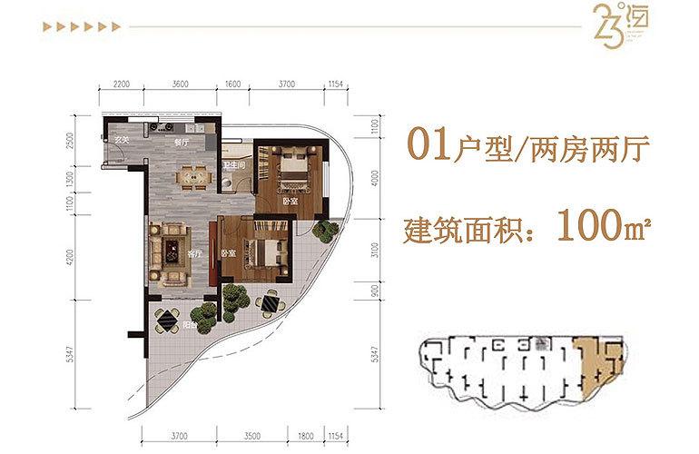 碧桂园中央半岛 01户型 2房2厅 建面100㎡