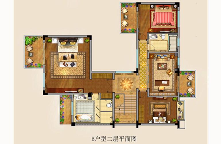 富力湾 K2海上院墅B户型: 五房两厅三卫 建面257.64㎡