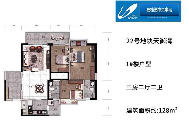 碧桂园中央半岛 1#户型 3房2厅2卫 建面128㎡