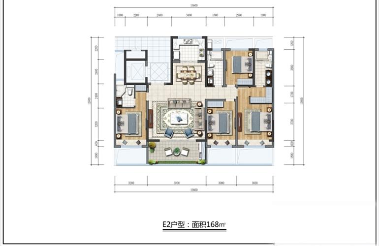 三亚蘭园 E2户型  四室两厅三卫一厨 建面168㎡