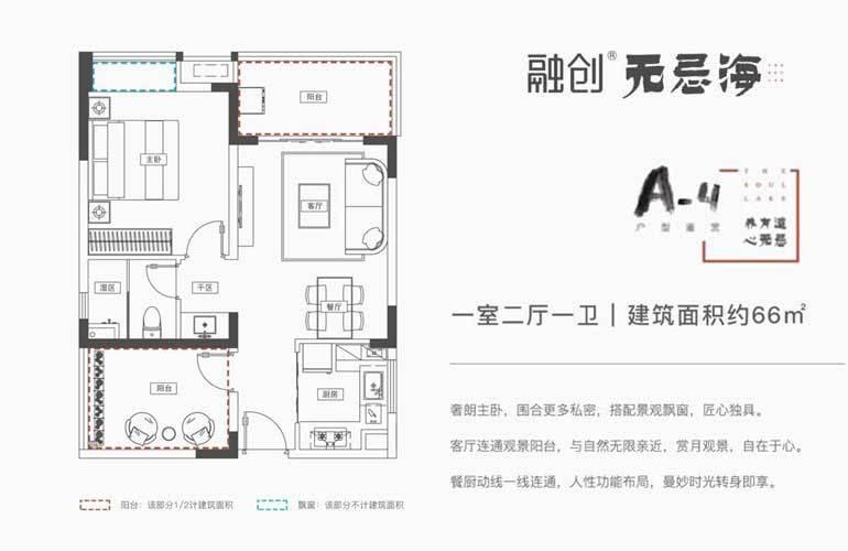 A-4户型 1室2厅1卫 建面66㎡