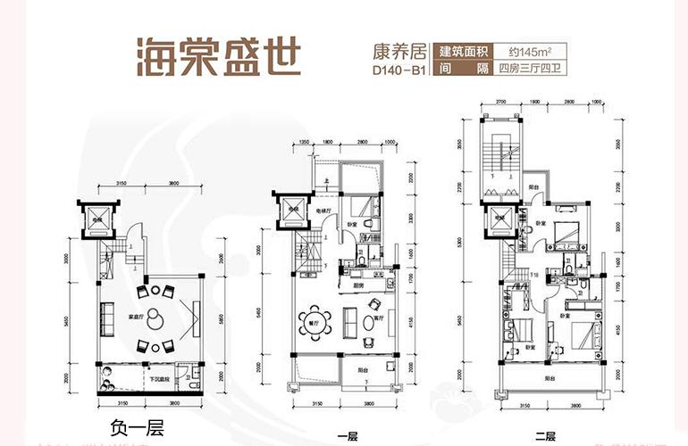 碧桂园海棠盛世 D140-B1户型四房三两厅 建面约145㎡
