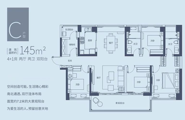 华侨城·曦海岸 C户型 4房2厅2卫 建面145㎡