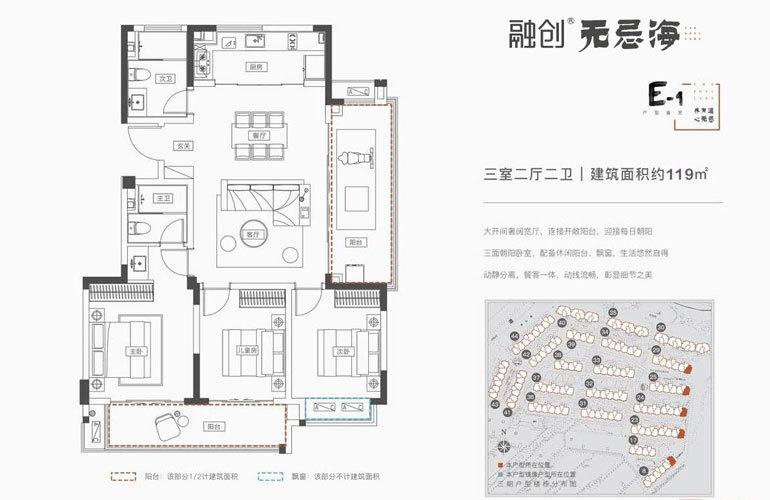 融创无忌海 E-1户型 3房2厅2卫 建面119㎡