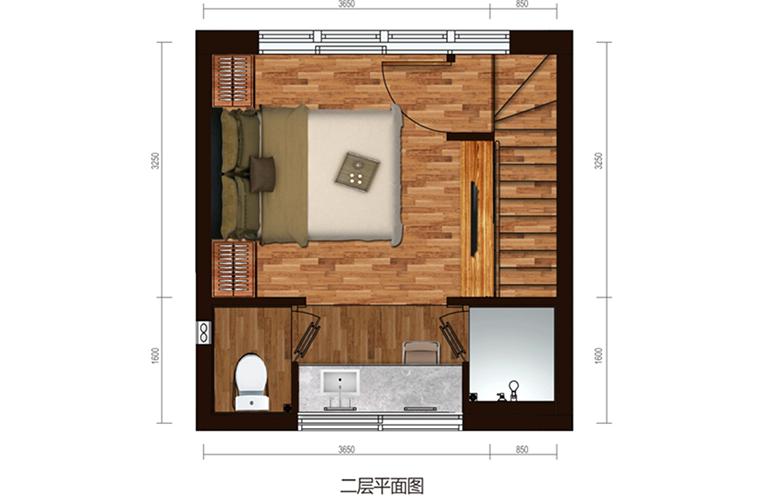 国家海岸保利海棠湾 别墅A户型二层 三室两厅三卫 建面约69.6㎡