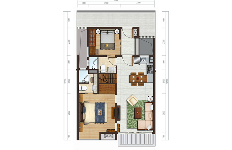 国家海岸保利海棠湾 洋房E户型 两室两厅 建面约69㎡