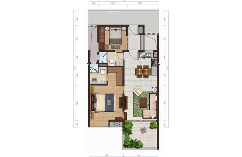 国家海岸保利海棠湾 洋房D户型 两室两厅两卫一厨 建面约73㎡