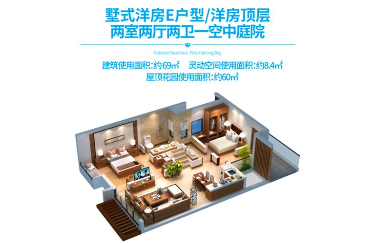 国家海岸保利海棠湾 洋房E户型模型 两室两厅 建面约69㎡