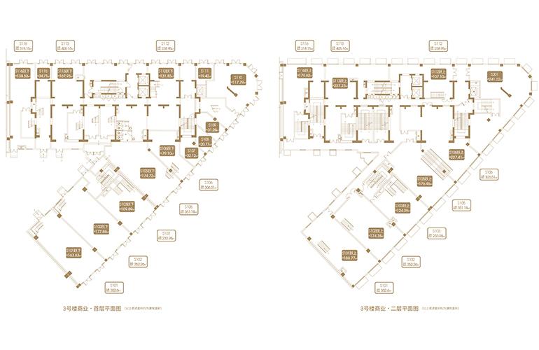 融创海口壹號 D12地块3#商业首层、二层平面图