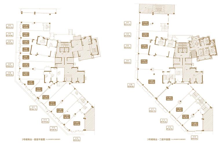 融创海口壹號 D11地块3#商业首层、二层平面图