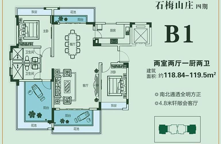石梅山庄 B1户型 2室2厅2卫1厨 建面118.84-119.50㎡