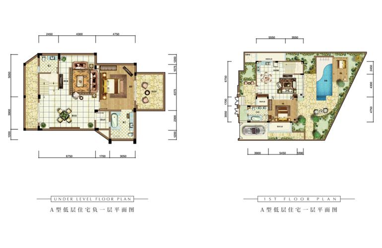 雅居乐清水湾 A户型  2室2厅3卫  建面103㎡