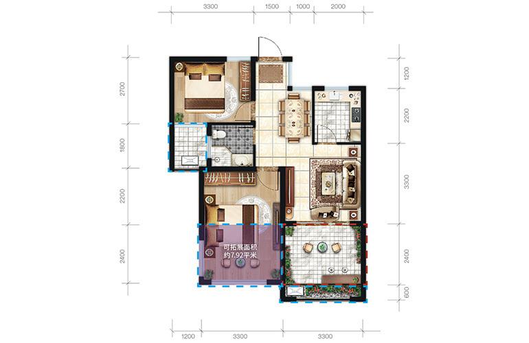 中商海花东岸 C1户型 2室2厅1卫1厨 建面67.2㎡