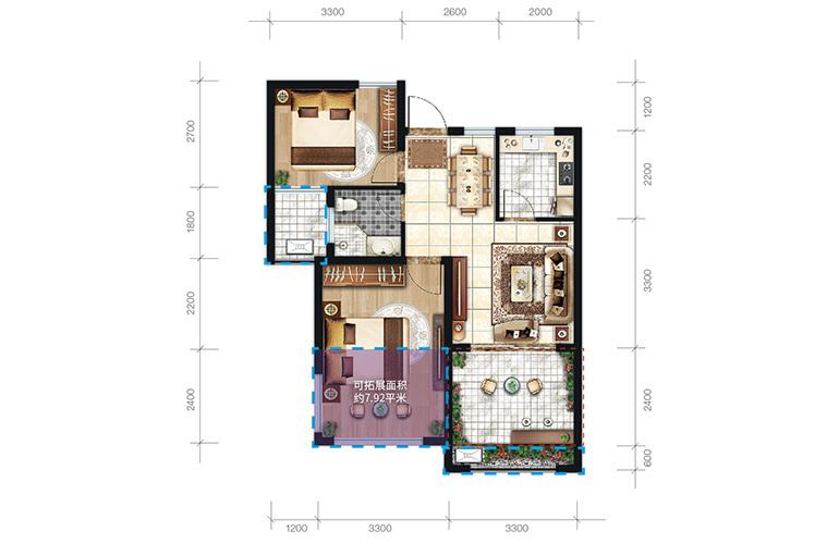中商海花东岸 C2户型 2室2厅1卫1厨 建面65.3㎡