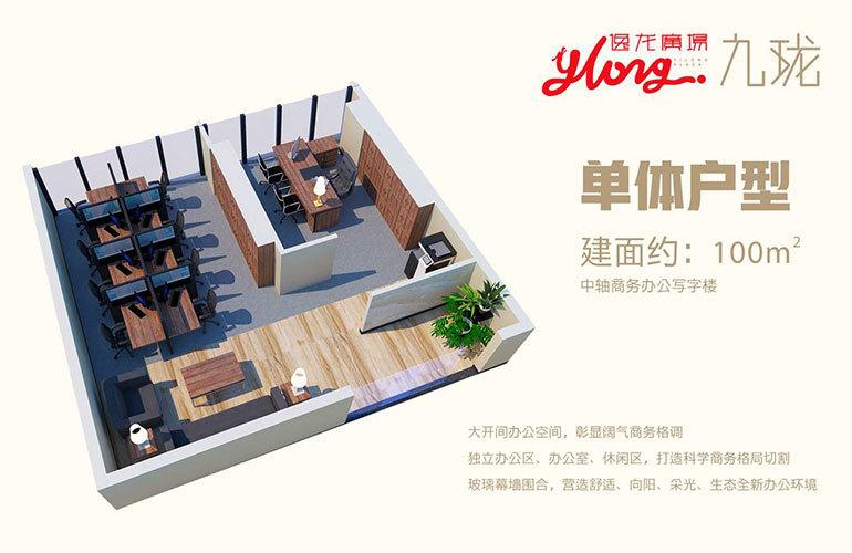 逸龙广场 单体户型 2室1厅1卫 建筑面积约100㎡
