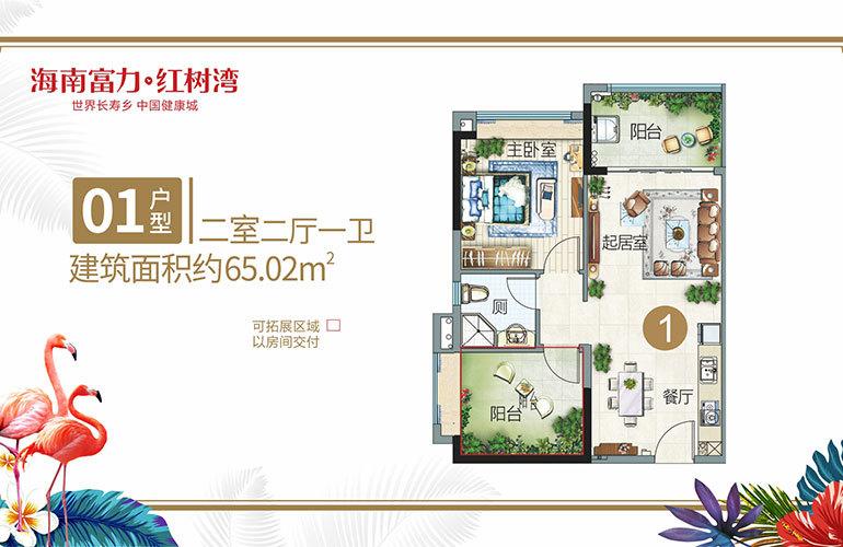 富力红树湾 01小户型 2室2厅1卫 建筑面积约65㎡