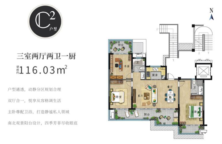 世茂怒放海 C2户型 三室两厅两卫 建筑面积116㎡