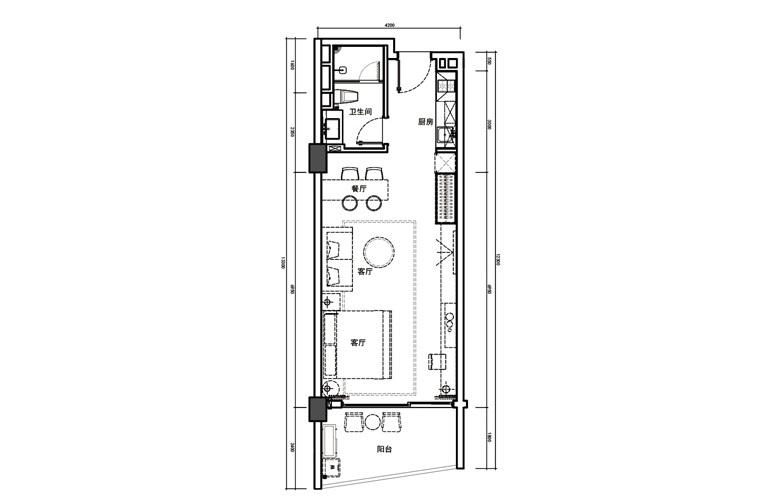 富力月亮湾海尚公寓 D户型 1房2厅1卫 建筑面积71㎡