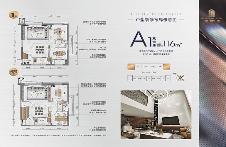 合隆柏悦广场 A1户型 建筑面积116㎡