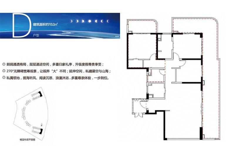 融创日月湾 D户型 3室2厅2卫 建筑面积153㎡
