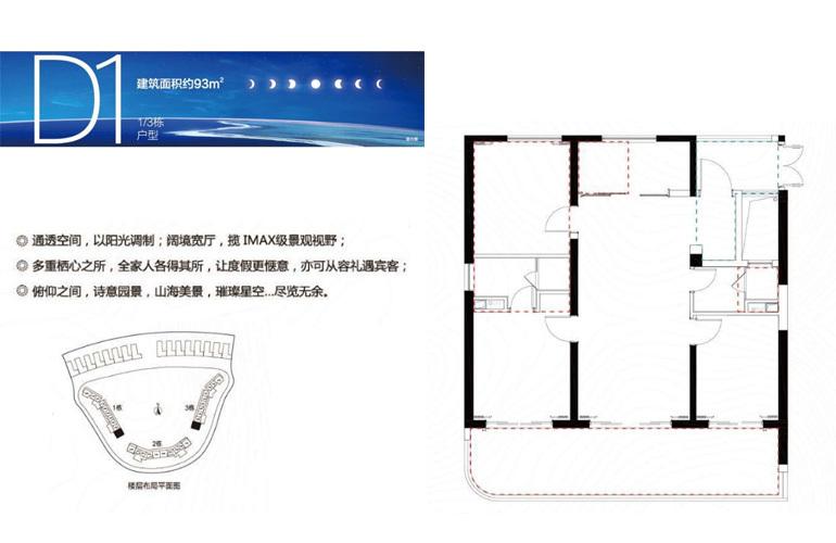 融创日月湾 D1户型 3室2厅2卫 建筑面积93㎡