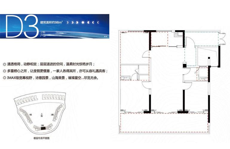 融创日月湾 D3户型 3室2厅2卫 建筑面积98㎡