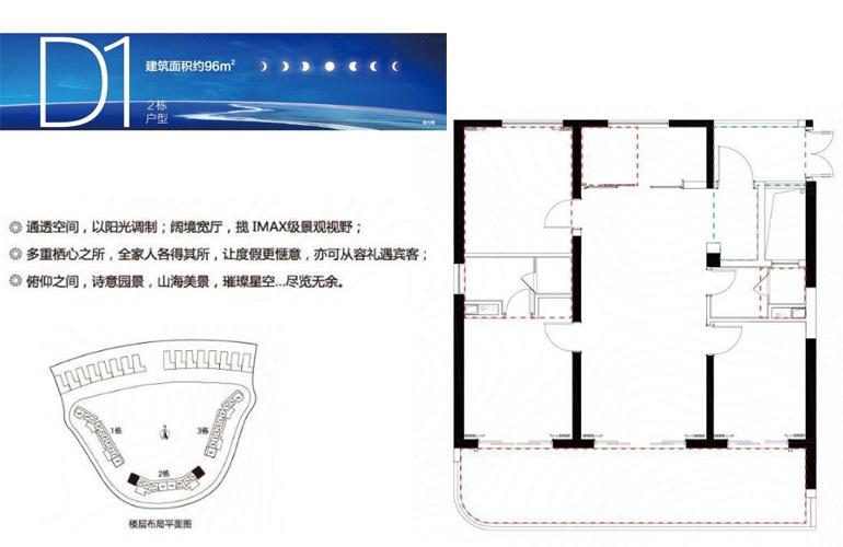 融创日月湾 D1户型 3室2厅2卫 建筑面积96㎡