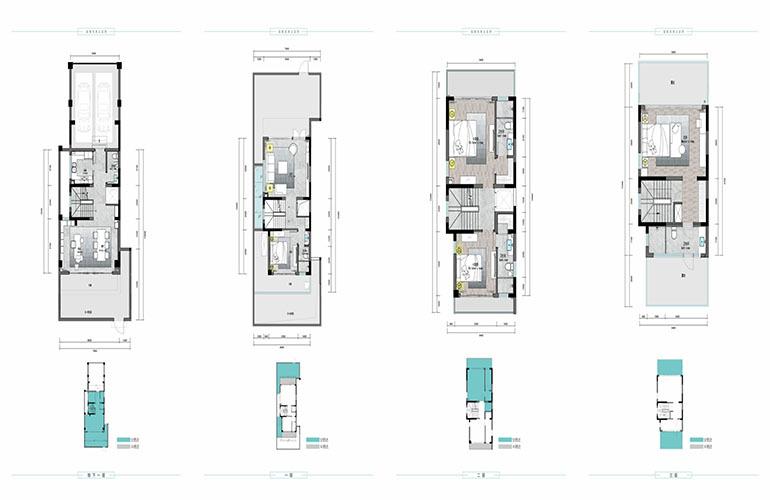 海蓝凤凰海岸 A户型 (端户)地下1层+地上3层 建筑面积145.66㎡