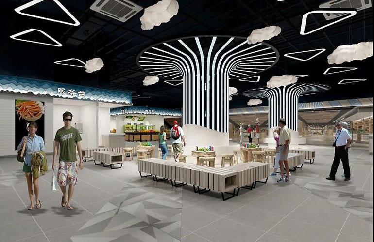 同利味城 味城嗨鲜集市休息区设计效果图