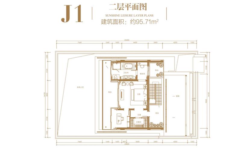 葛洲坝海棠福湾 J1户型 4室3厅4卫 建筑面积223.86㎡ 二层一层平面图