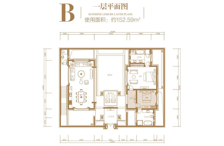 葛洲坝海棠福湾 B户型 3室2厅5卫 建筑面积127.75㎡ 一层平面图