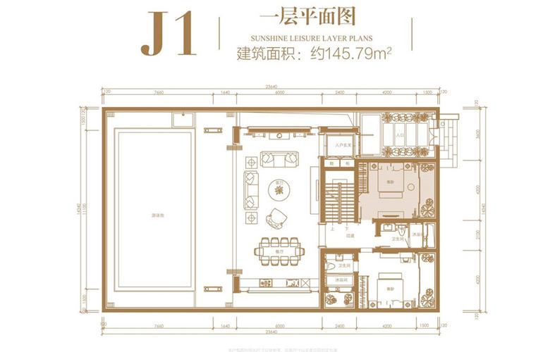 葛洲坝海棠福湾 J1户型 4室3厅4卫 建筑面积223.86㎡ 一层平面图