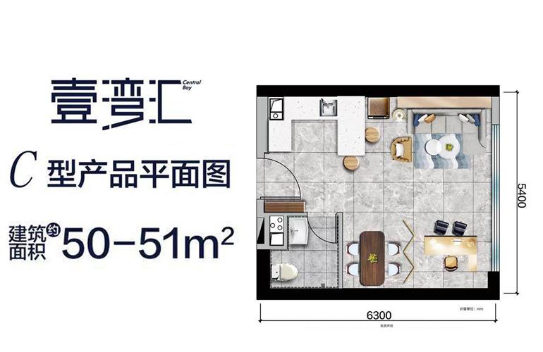碧桂园中央半岛 壹湾汇|C型产品平面图 建筑面积50-51㎡