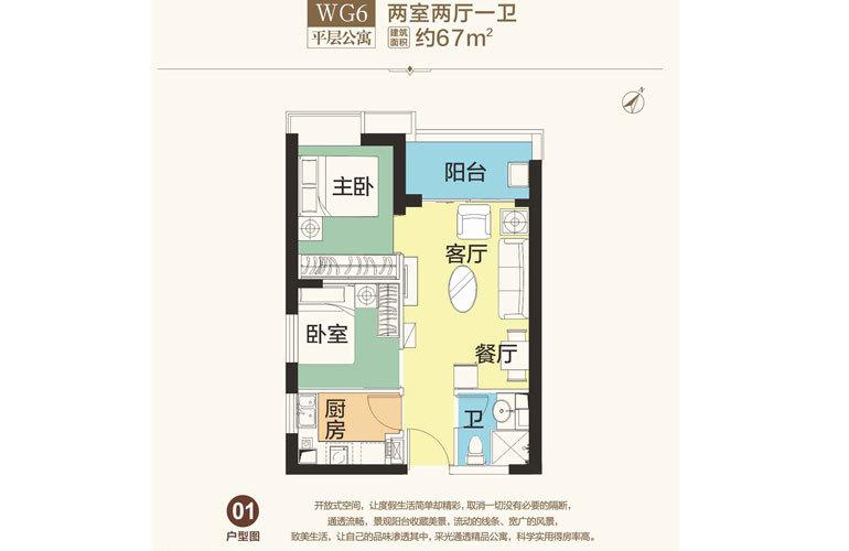 恒大海花岛 WG6 2室2厅1卫 建面67㎡
